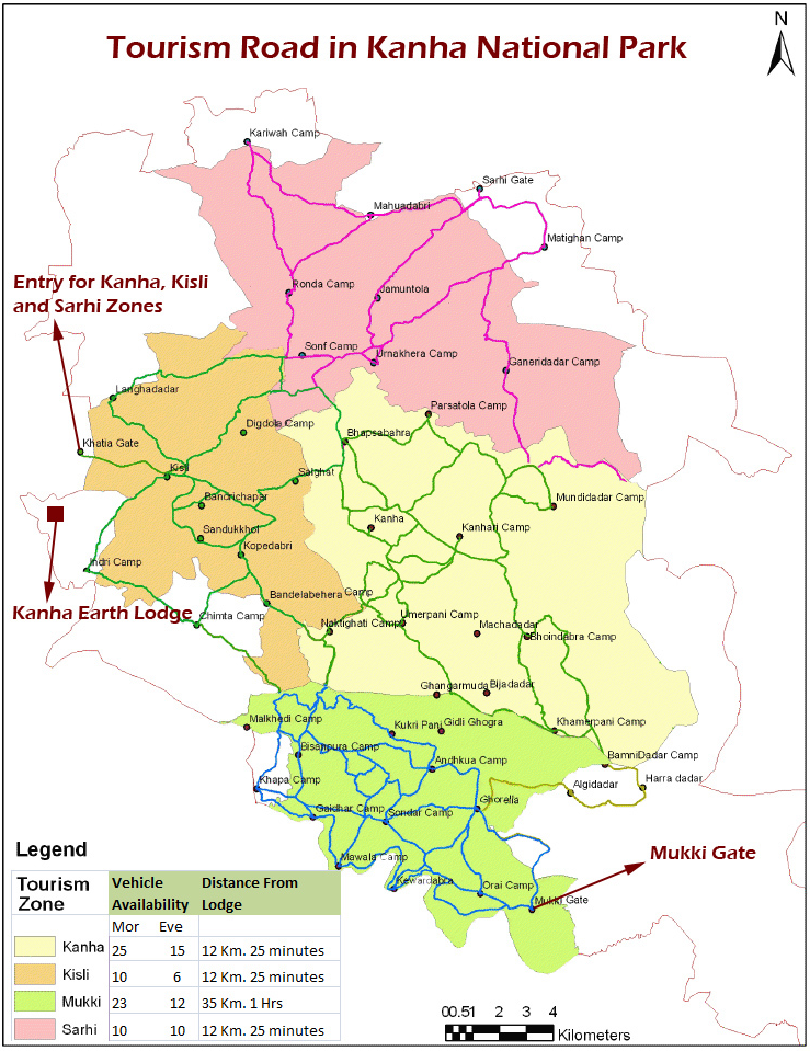 Tourism Map of Kanha National Park