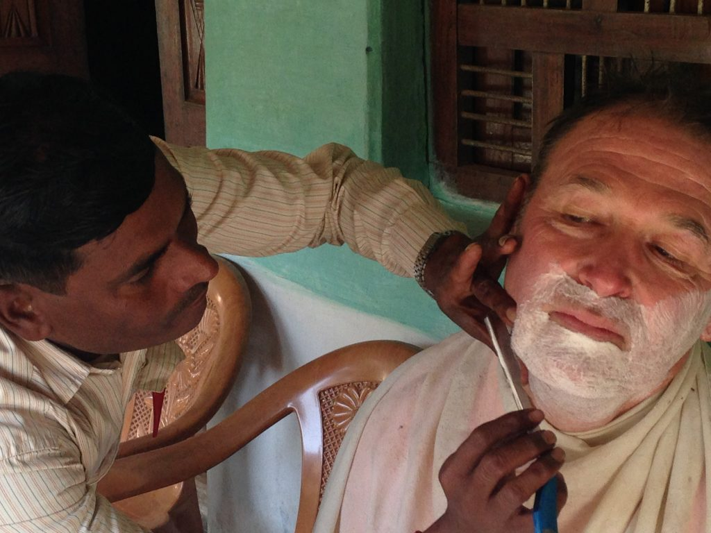 An Impromptu shave at a village home