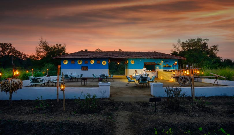 Farm dinner at Pench Tree Lodge
